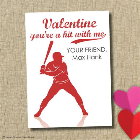 school valentines day cards school cards personalized card baseball