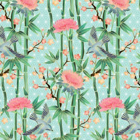 bamboo birds and blossoms on bamboo birds and blossoms on soft blue extra small