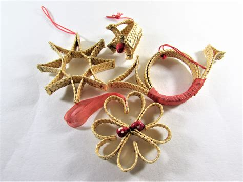 swedish straw christmas ornaments set of 4 bell horn star
