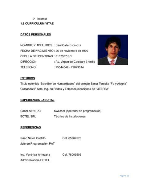 Modelo Curriculum Bolivia Modelo De Curriculum Vitae Bolivia Modelo De Curriculum Vitae