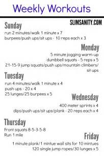 at home workouts at home weekly workouts 1 slim sanity