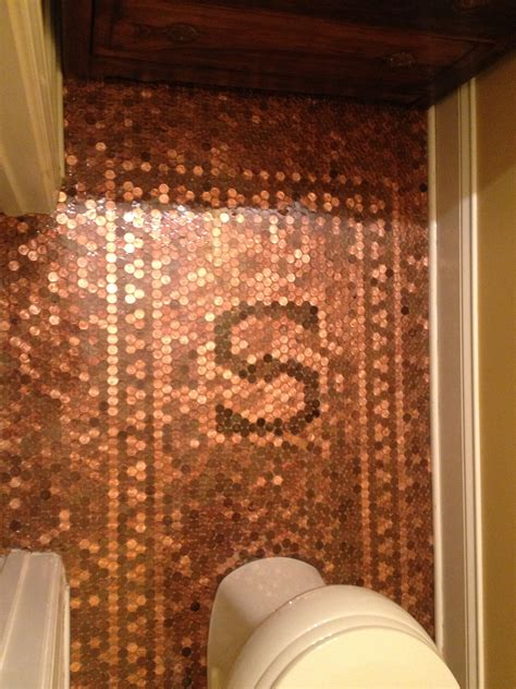 pennies on floor of bathroom finished product penny floor complete with family initial
