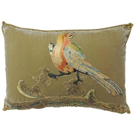 Pillow Bird by Silk Velvet Orange Bird Applique Pillow At 1stdibs