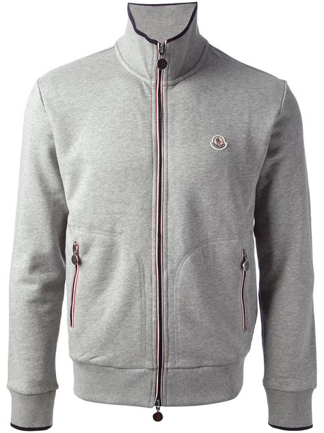Hoodie Quicksilver Grey Grey01 lyst moncler zip front sweatshirt in gray for