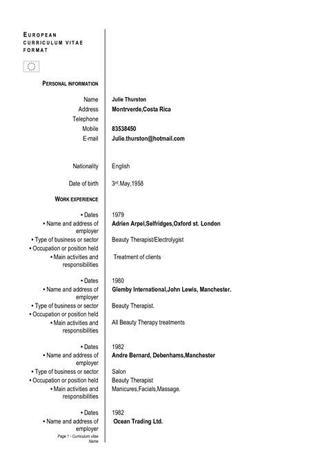 european curriculum vitae format curriculum vitae format cover letter sles