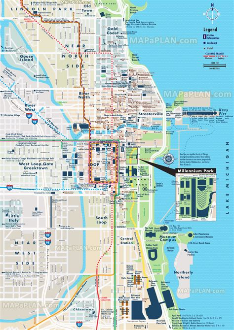 chicago map attractions chicago top attractions map