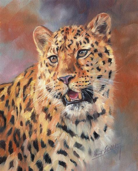 leopard cat painting amur leopard painting by david stribbling
