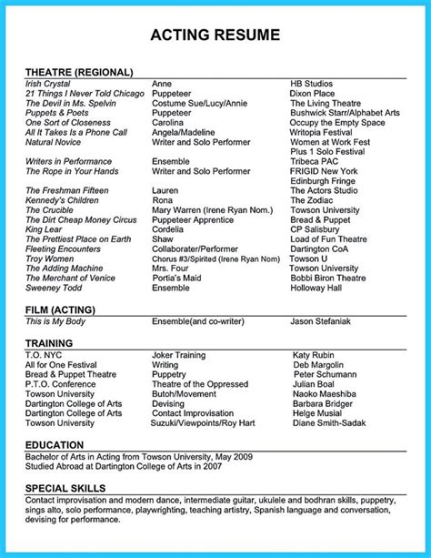 actor resume template boost career best 25 acting resume template ideas on free