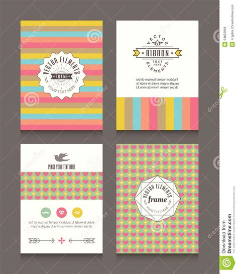 vintage retro frames and backgrounds design template stock