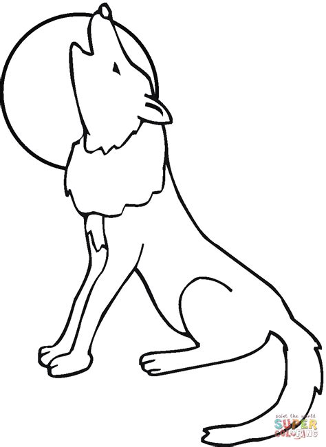 coyote howling moon coloring page free printable