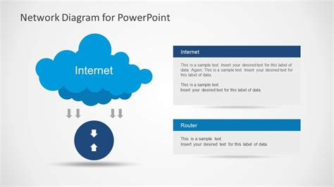 network diagram with cloud and arrows for powerpoint