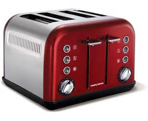 Stainless Steel Four Slice Toaster Morphy Richards Accents 4 Slice Wide Slot Toaster In Red