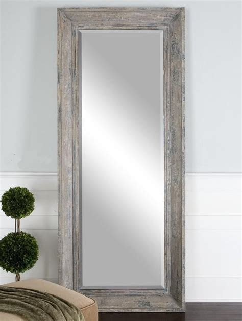 distressed wood floor mirror dressing xl rustic full