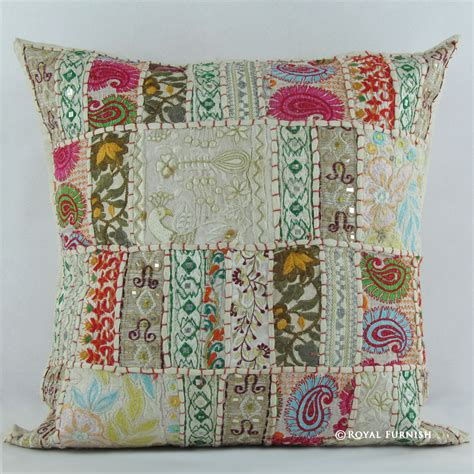 white indian vintage sari patchwork throw pillow cushion