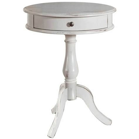 white round accent table distressed painted end table white round chic shabby