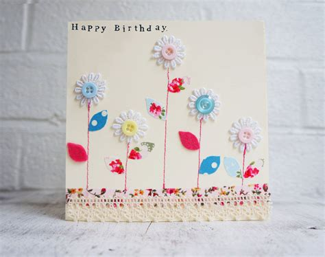 Handmade Cards With Buttons - happy birthday card with buttons and flowers handmade