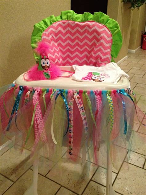 High Chair Tutu by Pink Chevron Lime Green High Chair Cover With Owl