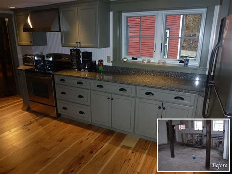 gray floors with hickory cabinets jp country builders carpentry restoration and home