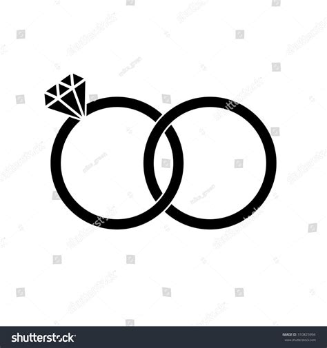 Wedding Font Symbols by Wedding Rings Brilliant Sign Icon Engagement Stock Vector