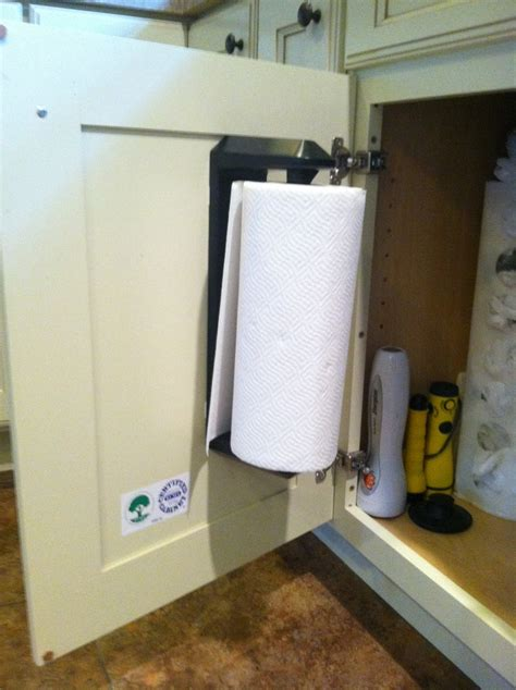 Hang Paper Towels Inside Cabinet With Command Strips I Paper Towel Holder Inside Cabinet