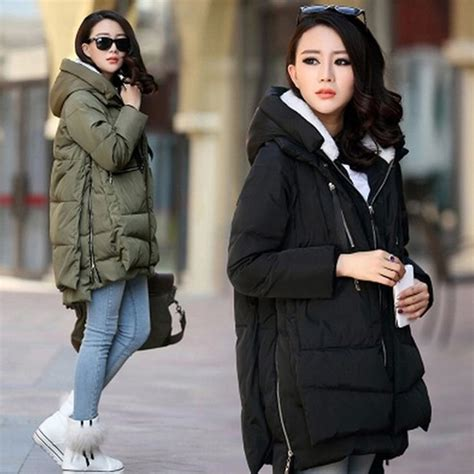 Jaket Kpop Heavy White winter coat padded jacket hooded thick zip pocket oversized m xxxl in basic