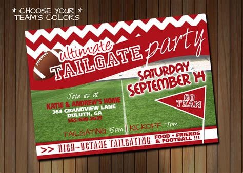 Tailgating Party Invitation Or Birthday Party Invitation Tailgate Template
