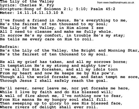song of velly hymns the of the valley lyrics