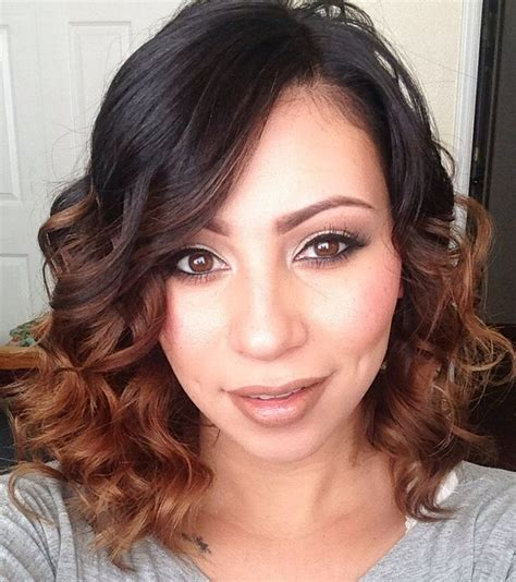 a lined curly bob haircuts curly a line long bob haircut with ombre ig