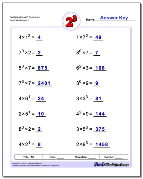Multiplying Powers With The Same Base Worksheet