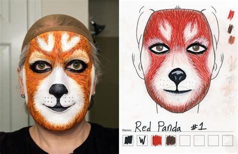 Panda Meme Mascara - red panda makeup 1st try vs sketch weasyl