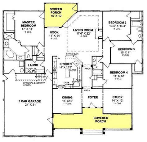 4 bedroom 3 bath house floor plans 655903 4 bedroom 3 bath country farmhouse with split floor plan and screened porch house