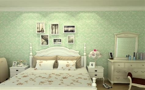 Home Bedroom Interior Design 3d bedroom with green wallpaper and dresser