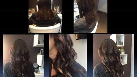 hair that comes to a point in the back look effect quot chocolate biondo rame quot hair point center