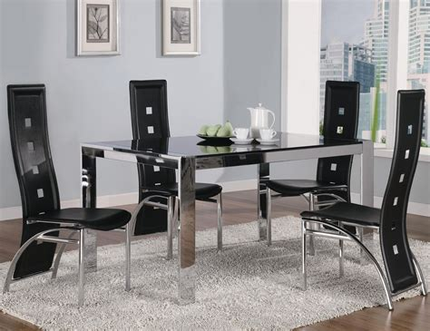 Glass And Metal Dining Room Sets by Coaster Broward 120280 120282 Silver Metal And Glass