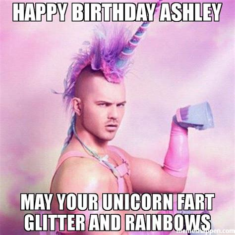 Ashley Meme - happy birthday ashley may your unicorn fart glitter and