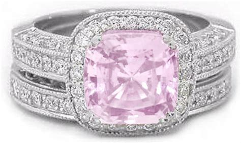 light pink sapphire engagement rings cushion cut bubblegum pink sapphire and halo