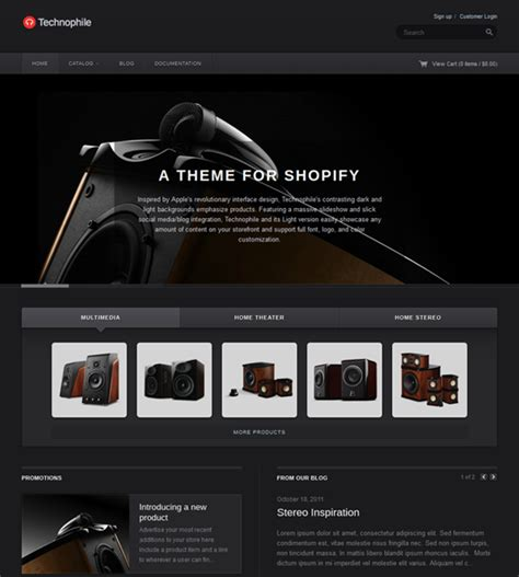 shopify themes with tabs this dark shopify theme includes a large content slideshow