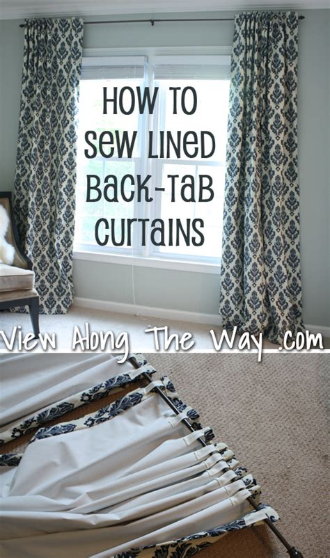 how to make tab curtains with lining how to sew tab back curtains guest tutorial little