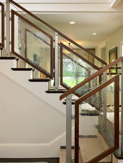 Wood Glass Stairs Design Tempered Glass Staircase Railing Houzz