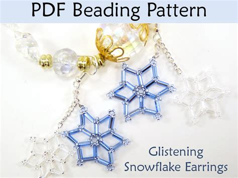 beading pdf beading tutorial pattern earrings winter