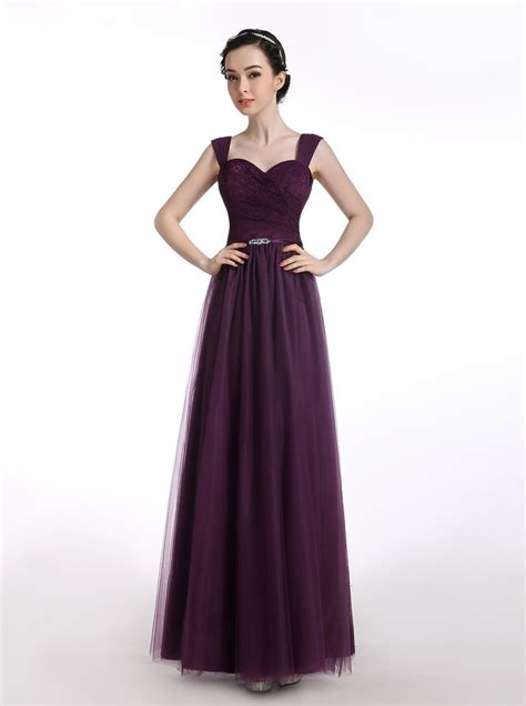 a line straps tulle grape prom dress with rhinestone