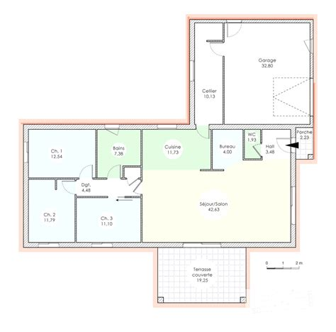 Plan Maison 120m2 Plain Pied 4349 by Plan Maison De Plain Pied 120m2