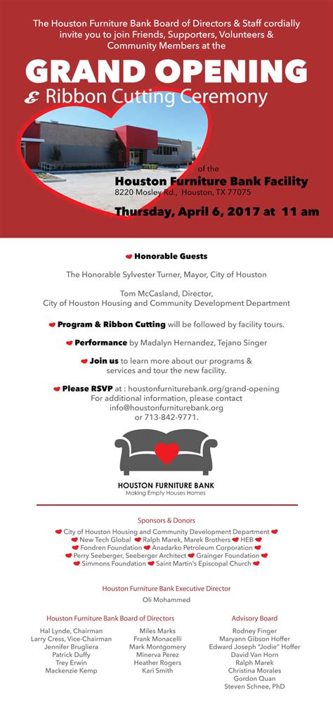 save  date grand opening ribbon cutting ceremony houston furniture bank
