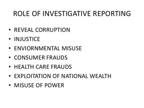 Investigative Journalism by Of Investigative Journalism