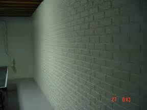 painted basement wall poured concrete with brick pattern