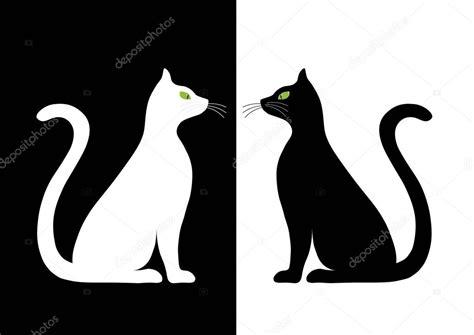 imagenes blanco y negro siluetas dos estilizada silueta de gatos blanco y negro archivo