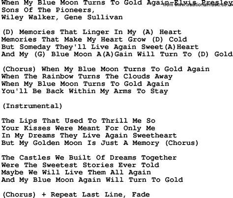 printable elvis lyrics country music when my blue moon turns to gold again elvis
