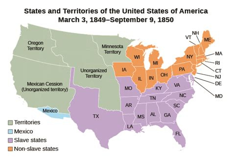 united states 1850 map the compromise of 1850 183 us history