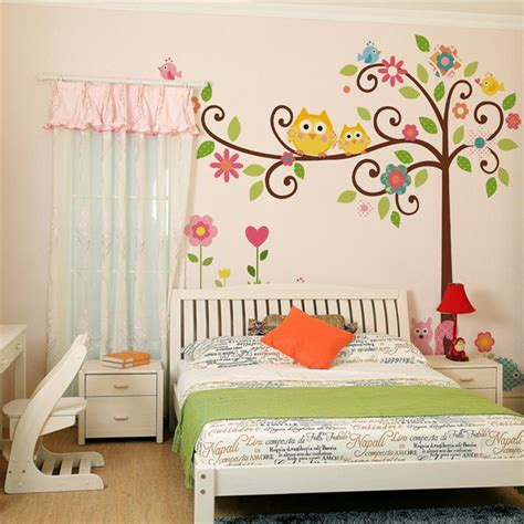 cute wise owls tree wall stickers for kids room
