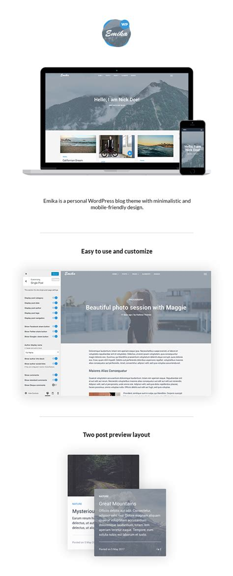 themeforest sign up emika personal wordpress blog theme by harbourthemes